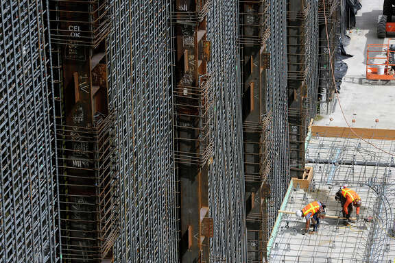 Construction crews install rebar for the new California Pacific Medical Center at Van Ness and Geary in S.F.