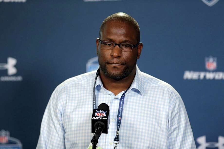 FILE - In this Feb. 19, 2015, file photo, Cleveland Browns general manager Ray Farmer listens to a question during a news conference at the NFL football scouting combine in Indianapolis. The NFL has suspended Browns general manager Ray Farmer for four games for sending text messages to the sideline last season during games.  Farmer has acknowledged sending the messages, which is prohibited under league rules. The league's punishment handed down on Monday, March 30, 2015,  includes a $250,000 fine on the Browns.  (AP Photo/David J. Phillip, File) Photo: David J. Phillip, STF / AP