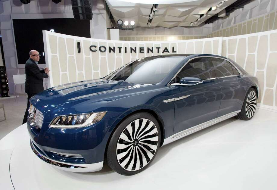 A Lincoln Continental concept car is shown at the New York International Auto Show, Monday, March 30, 2015, in New York. Thirteen years after the last Continental rolled off the assembly line, Ford Motor Co. is resurrecting its storied nameplate. The production version of the full-size sedan goes on sale next year. (AP Photo/Mark Lennihan) Photo: Mark Lennihan, STF / AP