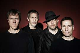 British band Ride: Laurence Colbert (left), Andy Bell, Mark Gardener and Steve Queralt.