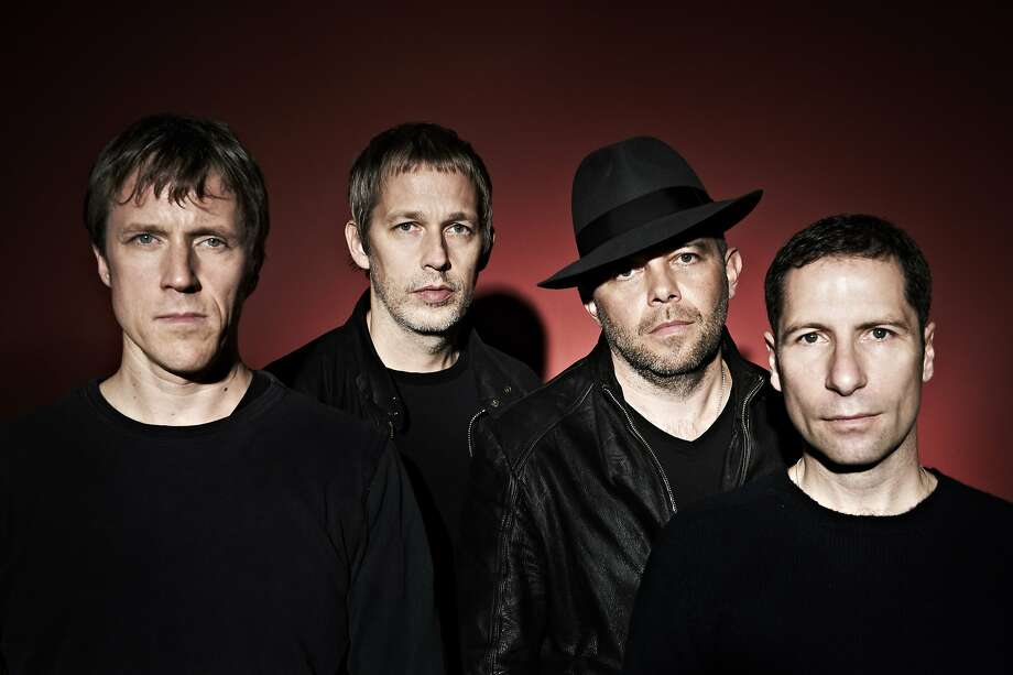 Ride: L. to R. Laurence Colbert, Andy Bell, Mark Gardener, Steve Queralt.  Ride 02/11/14 shot in banbury at Junction 11 studios Photo: Emilie Bailey