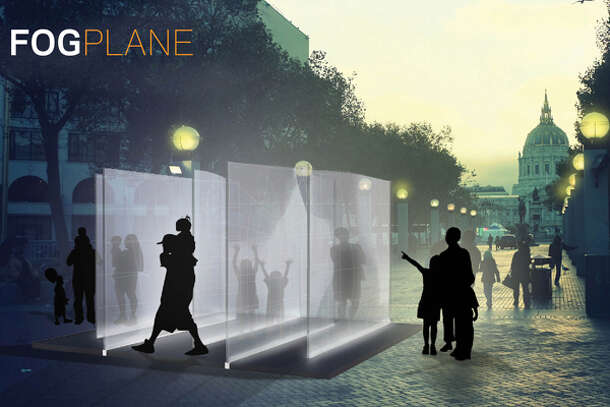 Fogplane – an installation of fabric, light, and shadows inspired by San Francisco's microclimates on Market Street. Photo: Market Street Prototyping Festival page