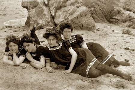 Bathing beauties at Lover's Point in Pacific Grove, circa 1915.