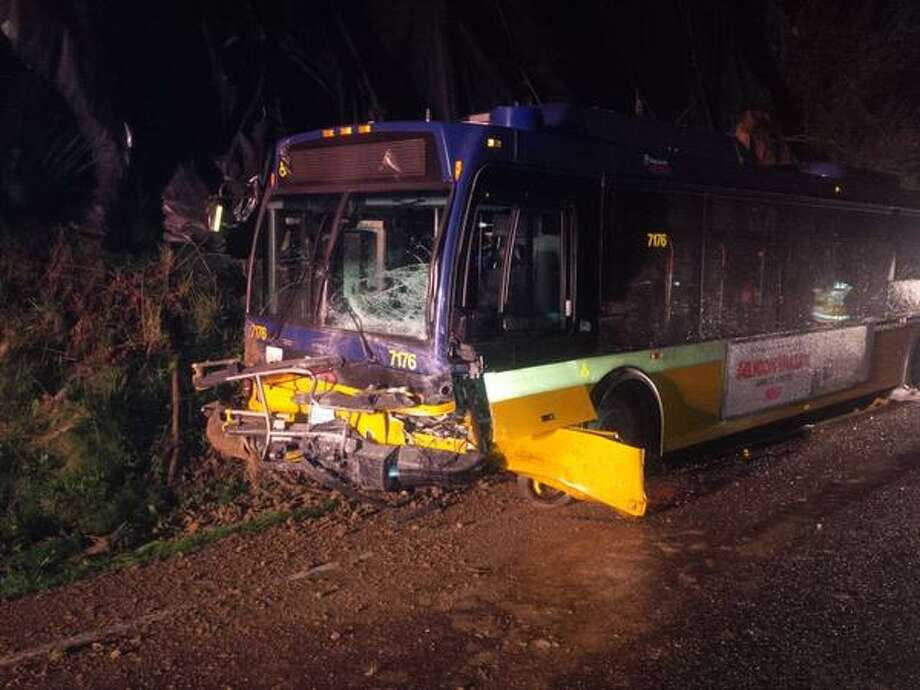 The Metro bus is seen after a car collided with it early on the morning of Tuesday, March 31, 2015. The driver of the car was killed. Washington State Patrol photo