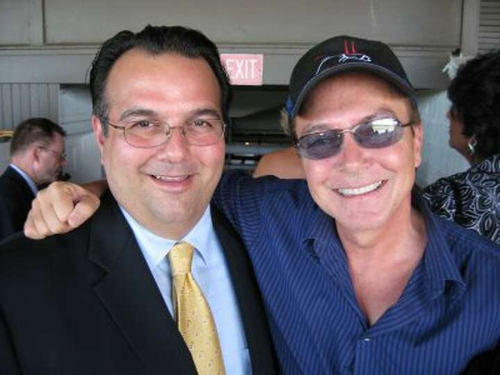 Troy Mayor Harry Tutunjian with David Cassidy at the Troy Stakes at Saratoga Race Course on Sunday,