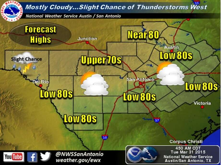 National Weather Service forecasters say San Antonio could receive about a quarter of an inch of rain through Wednesday. Photo: National Weather Service