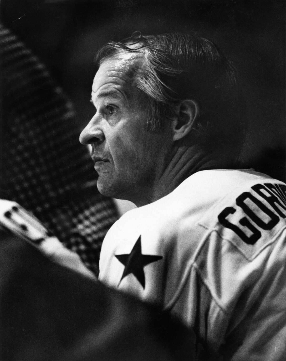 05/01/1975 - Houston Aeros Gordie Howe takes a breather on the bench in playoff game against the San Diego Mariners in the Sam Houston Coliseum.