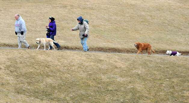 From left, Albany dog owners Tom Cairns with Tucker, Kathy Tarntino with Duncan (last dog), and Ray Moran with Riley and Brooke (not in photo), walk their dogs at Capital Hills at Albany golf course on Tuesday, March 31, 2015 in Albany, N.Y.  (Lori Van Buren / Times Union) Photo: Lori Van Buren