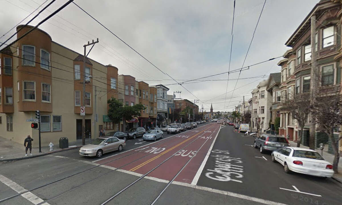 San Francisco's Riskiest sports for Bicyclists: Church Street from 15th Street to Market Street.