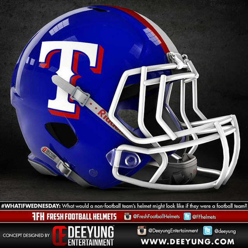 Texas Rangers concept football helmet design by Dylan Young of Deeyung Entertainment.