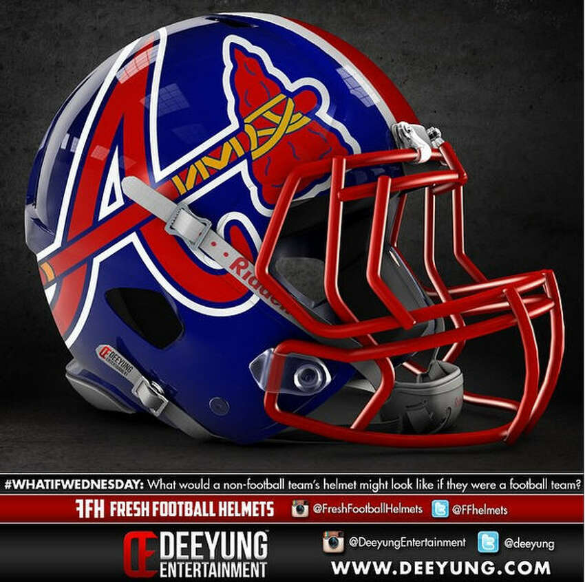 Atlanta Braves concept football helmet design by Dylan Young of Deeyung Entertainment.