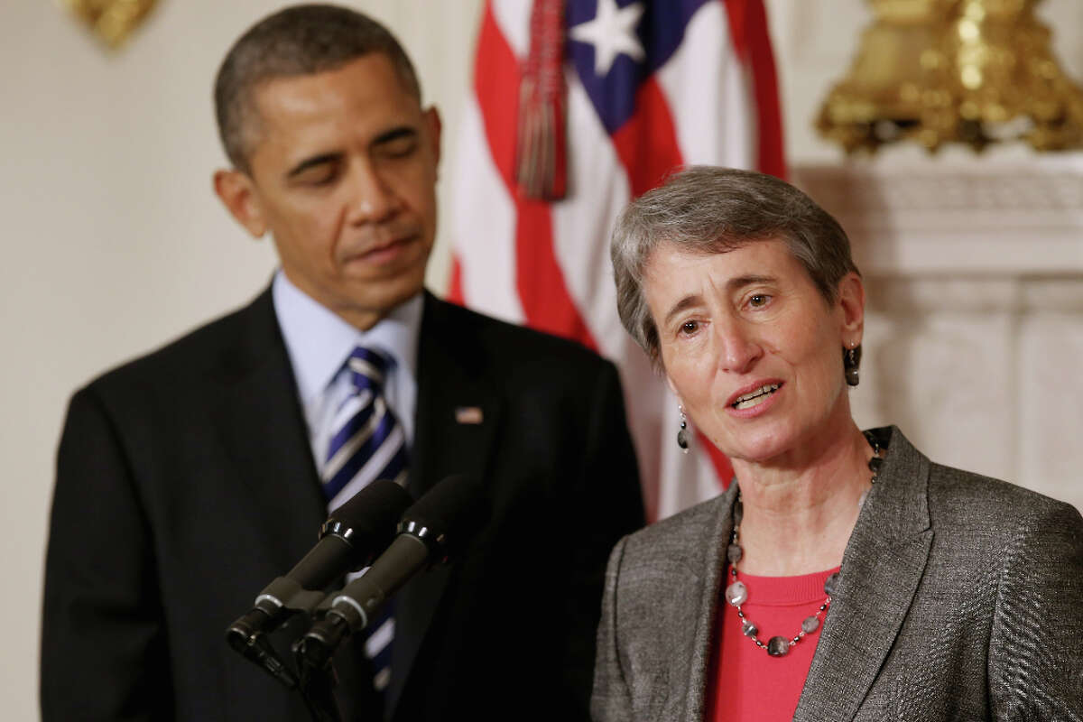 WASHINGTON, DC - FEBRUARY 06: REI Chief Executive Officer Sally Jewell (R) delivers remarks after being nominated by President Barack Obama to be the next Secretary of the Interior in the State Dining Room of the White House February 6, 2013 in Washington, DC. Jewell has been nominated to replace outgoing Interior Secretary Ken Salazar. (Photo by Chip Somodevilla/Getty Images)