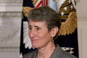 WASHINGTON, DC - FEBRUARY 06:  REI Chief Executive Officer Sally Jewell was nominated by President Barack Obama to be the next Secretary of the Interior in the State Dining Room of the White House February 6, 2013 in Washington, DC. Jewell has been nominated to replace outgoing Interior Secretary Ken Salazar.  (Photo by Chip Somodevilla/Getty Images)