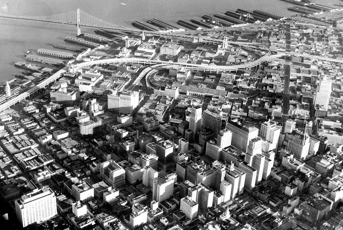 An aerial view of San Francisco's skyline in February 1959, more than a decade after Caen's first book.