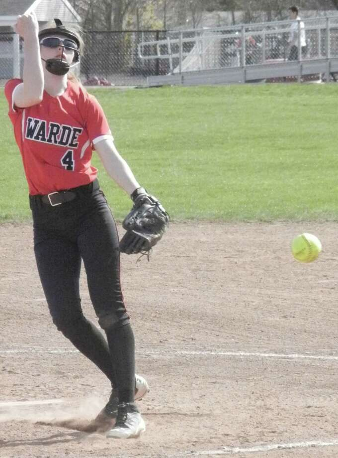 Warde pitcher Gabriella Natoli battles in a game against Staples last season. Natoli was an all-FCIAC honorable mention pick last year as the Mustangs went 11-9 and competed in the Class L tournament. Photo: Reid L. Walmark / Fairfield Citizen