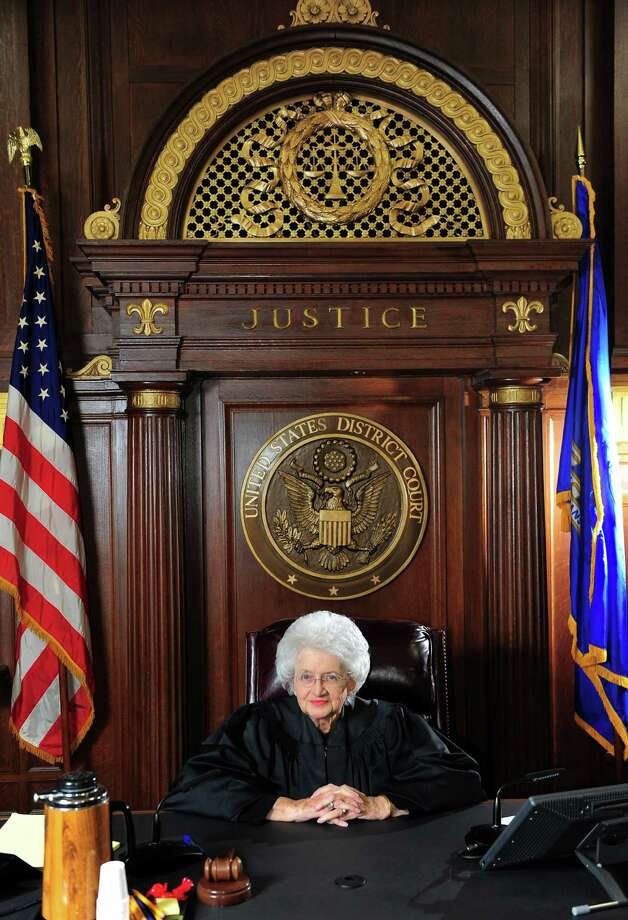 Ellen Bree Burns, a Senior United States federal judge at Federal Courthouse in New Haven, poses for a portrait in her courtroom in New Haven. After almost 40 years on the bench, Burns will be retiring at 91 years old. Photo: Christian Abraham / Connecticut Post