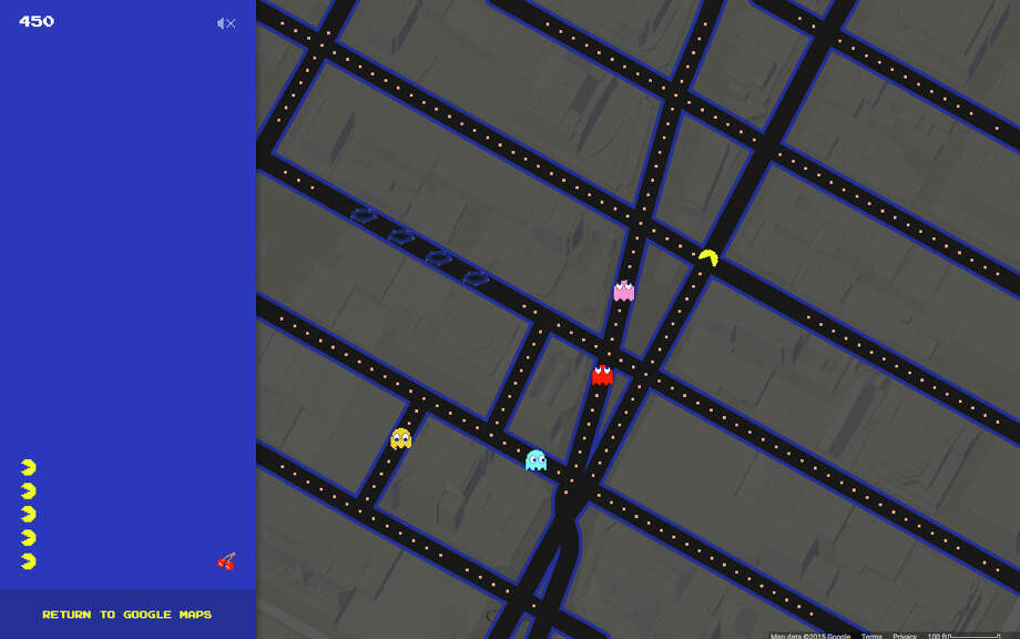 This screen shot made Tuesday, March 31, 2015 shows the Times Square area of New York in Pac-Man form on Google Maps. Google added the option to convert its popular navigation service into the Pac-Man video game in celebration of April Fools' Day. (AP Photo/Google Maps) Photo: Uncredited / Associated Press / Google