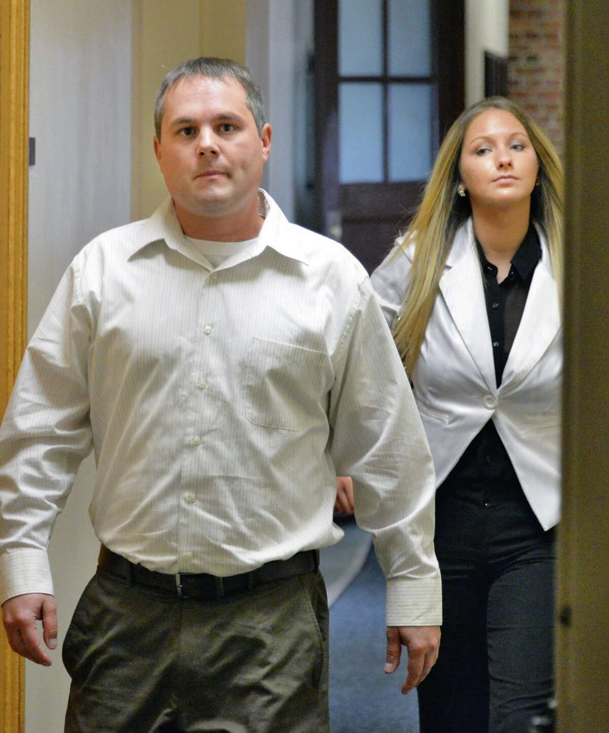 Joshua Malatino, left, and Sno Kone Joe owner Amanda Scott, in Fulton County Supreme Court in Johnstown, NY Tuesday May 14, 2013. (John Carl D'Annibale / Times Union archive)