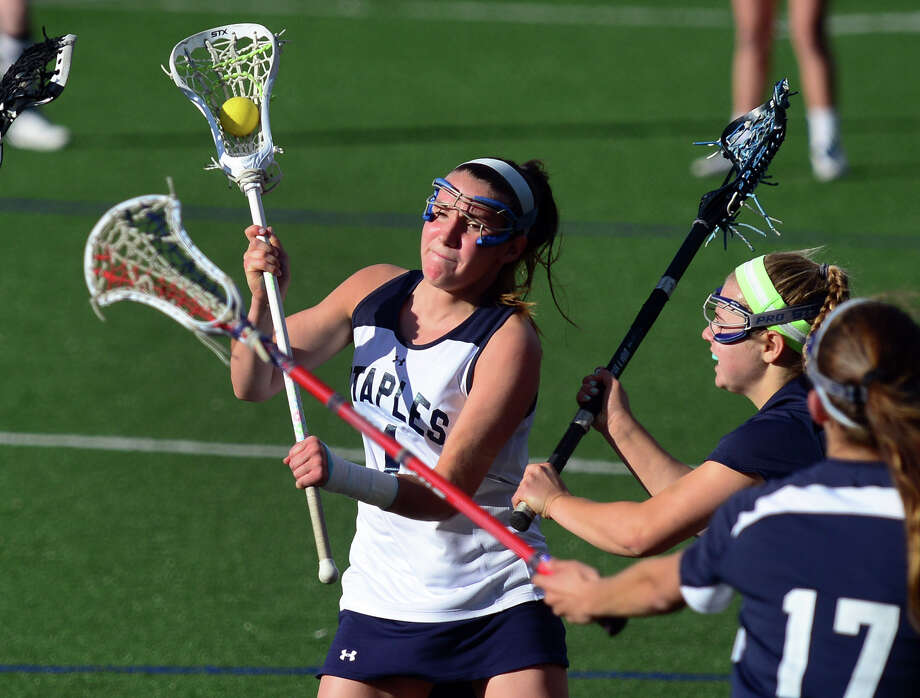 Paige Murray is one of several outstanding midfielders looking to drive a championship charge for Staples this spring. Photo: Christian Abraham / Connecticut Post