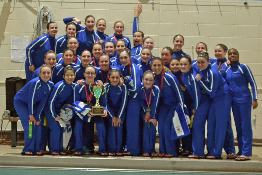 The New Canaan Y Aquianas Junior and Senior teams pose with their winner's trophy at the Junior / Senior Zone meet held in New Canaan, March 13-15. Photo: Jessica Hoyt / Darien News