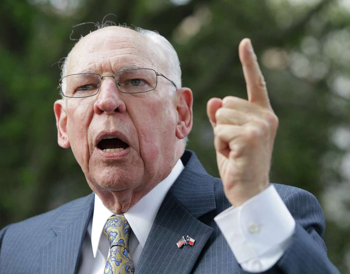 Rafael Cruz, Cruz's father, speaks during a rally outside his son's campaign headquarters at 24 Greenway Plaza on Tuesday.