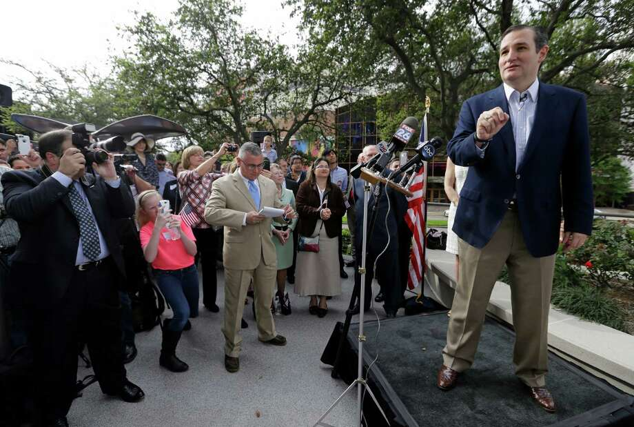 Ted Cruz speaks during a rally outside of his campaign headquarters at 24 Greenway Plaza Tuesday, March 31, 2015, in Houston. Photo: Melissa Phillip, Houston Chronicle / © 2015  Houston Chronicle