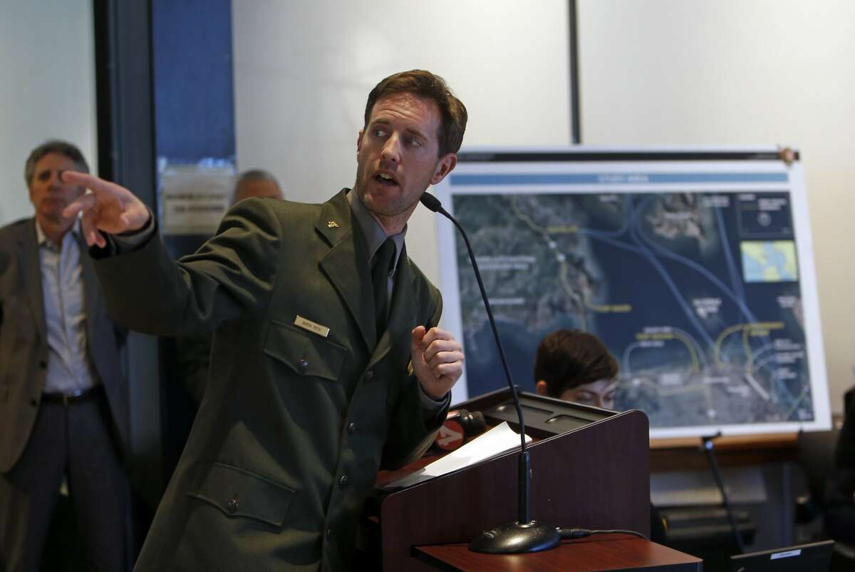 National Park Service Acting Superintendent Aaron Roth discusses proposals to relocate Alcatraz ferry during public meeting at Pier 1 in San Francisco, Calif., on Tuesday, March 31, 2015.
