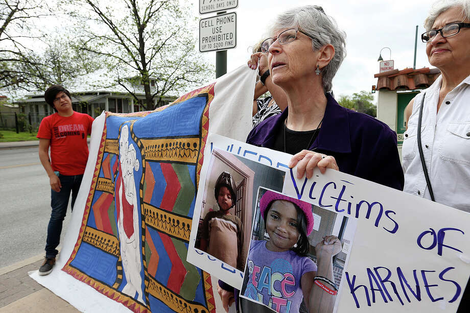 Demonstrators rallied Tuesday at the San Antonio Mennonite Church where they announced that 80 immigrant women held at the Karnes County Residential Center while their court cases are pending went on a Holy Week fast to protest their long detention and conditions at the center. Photo: JERRY LARA, Staff / © 2015 San Antonio Express-News