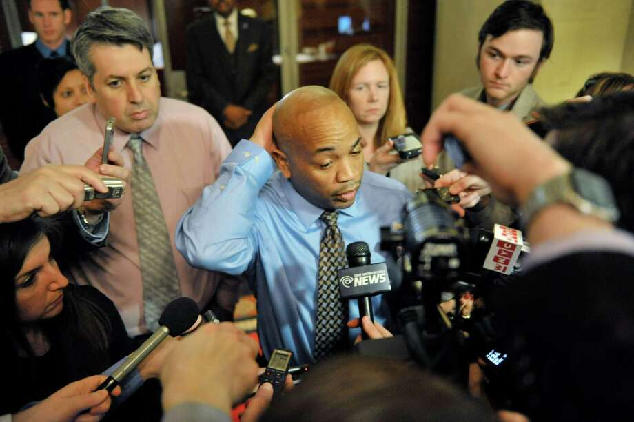 State Assembly Leader Carl Heastie talks to members of the media outside his office at the Capitol on Tuesday, March 31, 2015, in Albany, N.Y.    (Paul Buckowski / Times Union) Photo: PAUL BUCKOWSKI / 00031245A