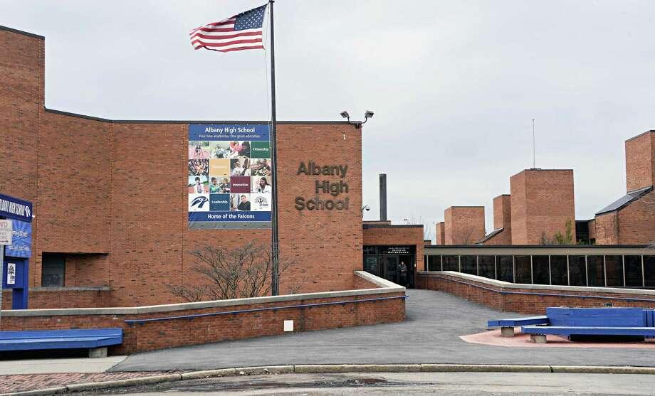 Exterior of Albany High School on Washington Avenue Tuesday March 31, 2015 in Albany, NY.  (John Carl D'Annibale / Times Union) Photo: John Carl D'Annibale / 00031247A