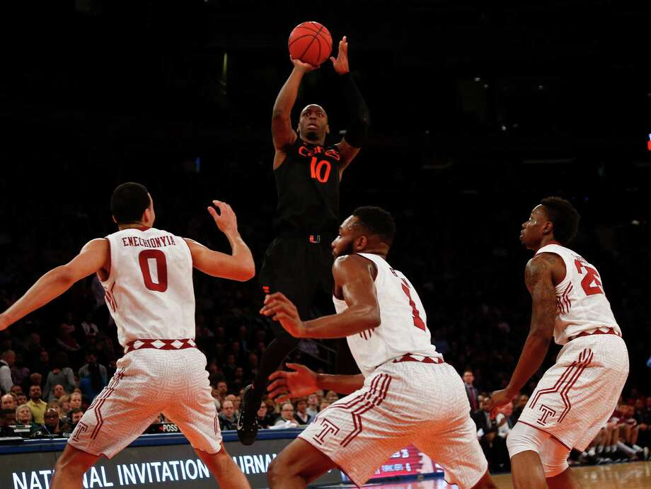 NEW YORK, NY - MARCH 31:   Sheldon McClellan #10 of the Miami (Fl) Hurricanes shoots over the Temple Owls defense during the NIT Championship semifinals at Madison Square Garden on March 31, 2015 in New York City.  (Photo by Jeff Zelevansky/Getty Images) ORG XMIT: 537113193 Photo: Jeff Zelevansky / 2015 Getty Images