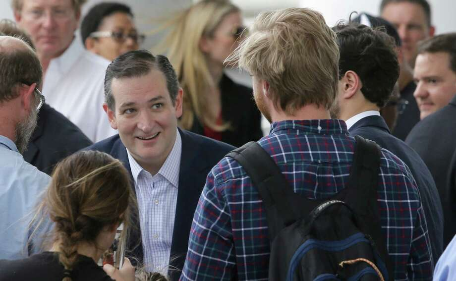 Ted Cruz greets supports after a rally outside his campaign headquarters at  24 Greenway Plaza on Tuesday. Photo: Melissa Phillip, Staff / © 2015  Houston Chronicle