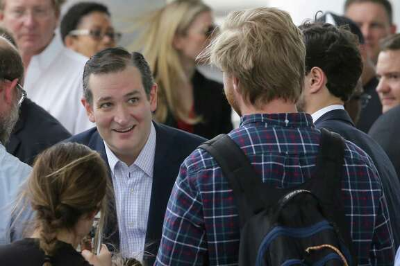 Ted Cruz greets supports after a rally outside his campaign headquarters at  24 Greenway Plaza on Tuesday.