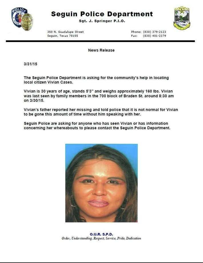 Vivian Cases is reportedly missing and last seen about 8:30 a.m. March 30.