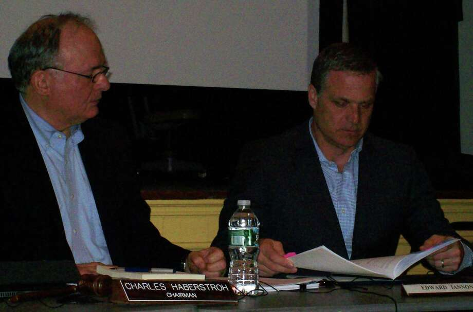 Parks and Recreation Commission members, Edward Iannone, and Charles Haberstroh, commission chairman, at Tuesday night's meeting on Compo Beach. Photo: Anne M. Amato / westport news