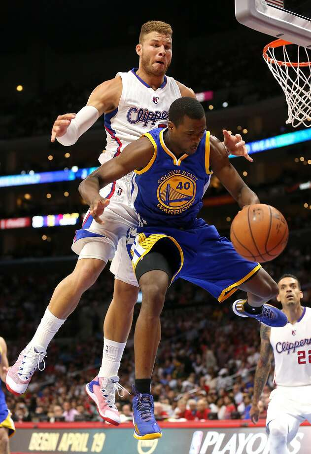 Blake Griffin fouls Harrison Barnes from behind during a Warriors-Clippers game in March. Photo: Stephen Dunn, Getty Images