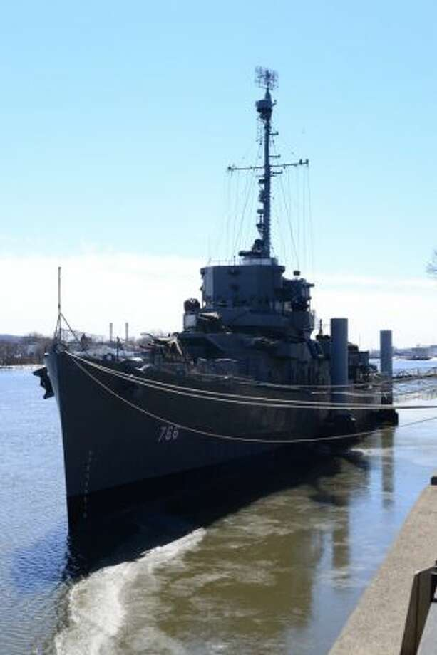 In this 2014 picture, the paint scheme of the USS Slater, shown in Staten Island, was returned to its dazzle camouflage look from World War II. (Destroyer Escort Historical Museum photo)