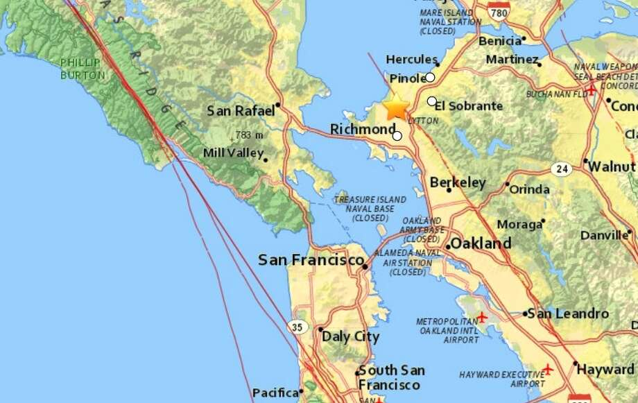 A magnitude 2.7earthquake struck near San Pablo on Wednesday morning along the Hayward Fault. Photo: USGS / ONLINE_YES