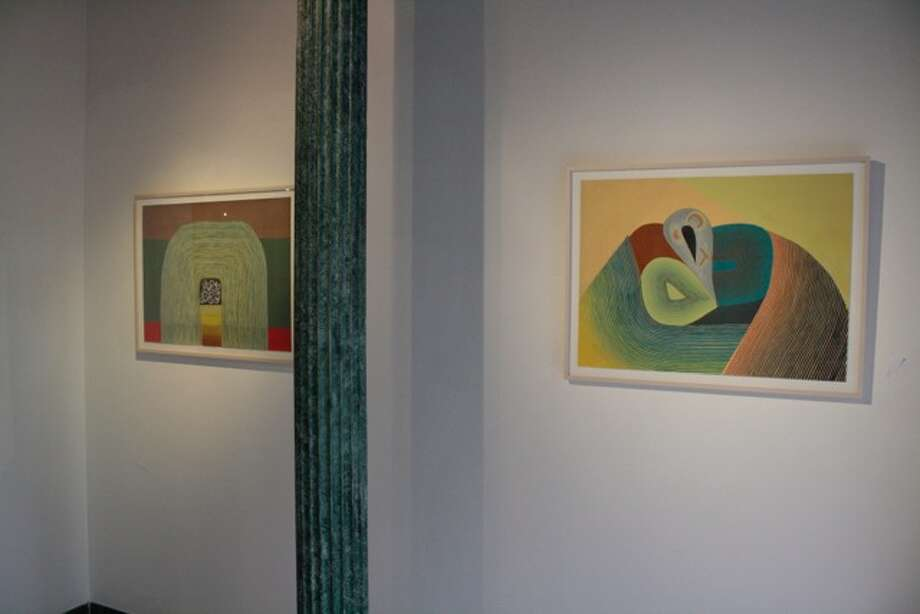 Left to right: Jenny Kemp. Highway, gouache on paper Jenny Kemp. Vices, gouache on paper. Photo credit Brian J Williams