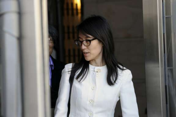 Ellen Pao, former junior partner at Kleiner Perkins Caufield & Byers, exits state court in San Francisco, California, U.S., on Friday, March 27, 2015. A jury soundly rejected Pao's claims of gender discrimination by Kleiner Perkins Caufield & Byers, in a case that riveted Silicon Valley for weeks and exposed how women fare in the male-dominated world of venture capital. Photographer: Michael Short/Bloomberg *** Local Caption *** Ellen Pao