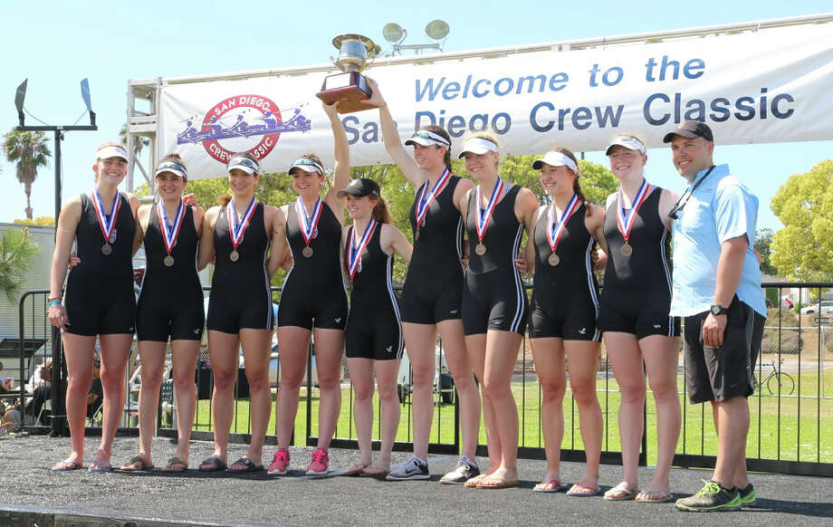 Westport's Saugatuck Rowing Club varsity girls eight bested a talented field from across the country yesterday, bringing home the gold in the two-kilometer race.  The team of Willemijn ten Cate, Nica Wardell, Amra Sabovic, Genevieve Esse, coxswain Lexi Bralver, Lelia Boley, Margaret Manley, Katherine Ratcliffe and Alison Morrison also won the Head of the Charles Regatta in Boston last fall.  Pictured with the team is coach Chase Graham. Photo: Contirbuted, Contributed / Darien News