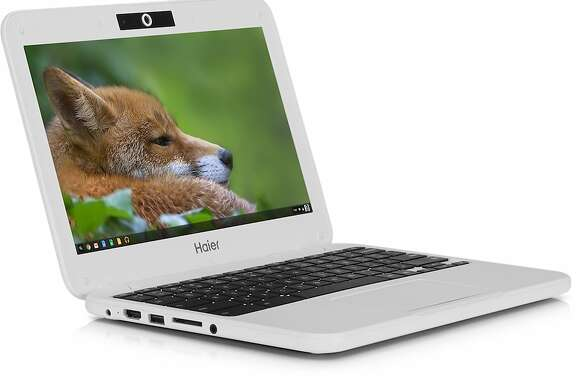 This product image provided by Google shows the Haier Chromebook 11, a $149 laptop running on Google's Chrome operating system. Google is releasing two $149 laptops in an effort to undercut Microsoft's Windows franchise and drive down already falling personal computer prices. (AP Photo/Google)