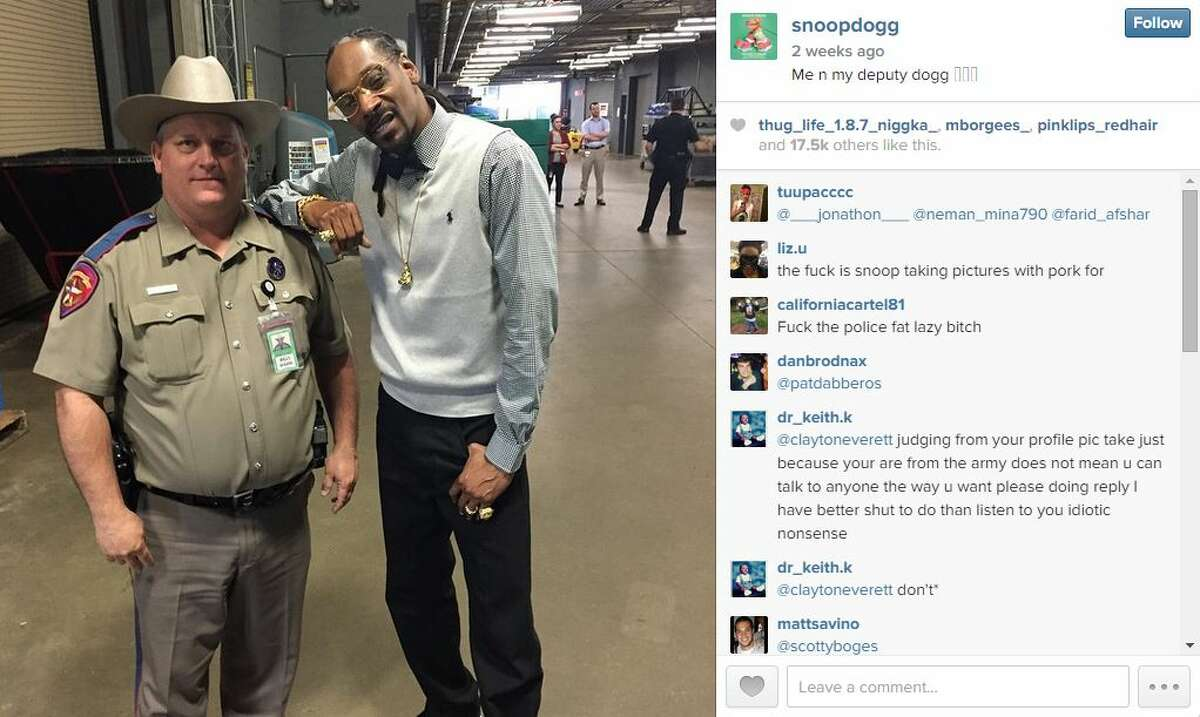 Billy Spears, a trooper for the Texas Department of Public Safety, is in trouble for allowing rapper Snoop Dogg to pose with him for a picture published on the rapper's Instagram page during the South by Southwest Festival, according to the Dallas Morning News. DMN's Christy Hoppe reports that Spears must undergo counseling for taking the photo with