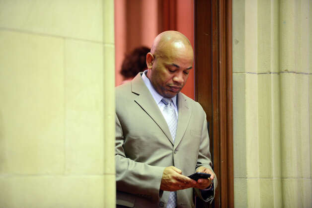 Assembly Speaker Carl Heastie checks his cellphone from his Assembly Chamber office doorway before the start of session Monday afternoon, March 30, 2015, at the Capitol in Albany, N.Y. (Will Waldron/Times Union) Photo: WW, Albany Times Union / 00031230A