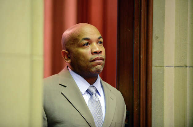 Assembly Speaker Carl Heastie scans the Chamber from the doorway of his adjoining office before the start of session Monday afternoon, March 30, 2015, at the Capitol in Albany, N.Y. (Will Waldron/Times Union) Photo: WW, Albany Times Union / 00031230A