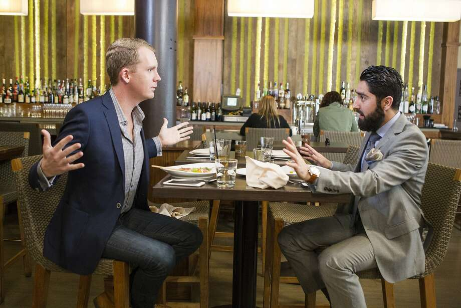 "Real estate agents Andrew Greenwell (left) and Roh Habibi compete in ""Million Dollar Listing San Francisco."" Photo: Kim White, Bravo Media"