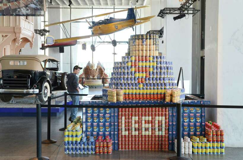 Sculptures made from cans and other nonperishable foods are displayed at the State Museum during the