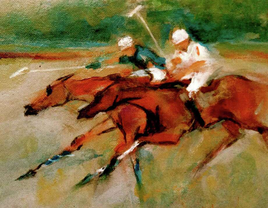 "After several polo seasons spent watching the action at Conyers Farm in Greenwich, Conn., New York-baesd artist Ted Berkowitz has created about two dozen works inspired by the action-packed play, including ""White Birch,"" shown here. This painting and others will be on display at Les Beaux Arts Gallery is located in the Round Hill Community Church through May 14, 2015. Photo: Contributed Photo / Stamford Advocate Contributed photo"
