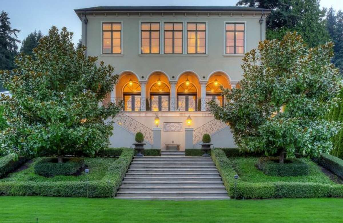 This stately Sammamish home is listed for $6.45 million. Built in 2005, it has five bedrooms and five-and-one-quarters bathrooms on a .6 acre lot. It features sweeping views of the lake and luxurious details throughout, such as French doors, dark-stained lacquer walls and Swarovski crystal knobs. See the full listing here.