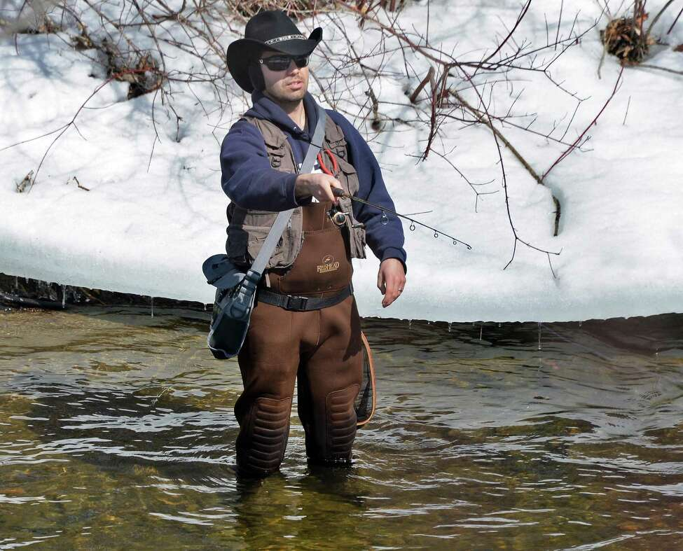 Steve Sidlauskas of Amsterdam tried his luck on the Kayaderosseras Creek on opening day of trout fishing season on April 1, 2015 in Milton, NY. (John Carl D'Annibale / Times Union)